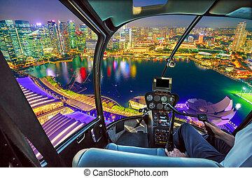 Helicopter on marina bay