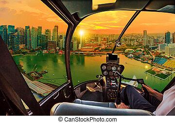 Helicopter on marina bay Singapore