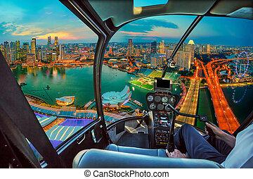 Helicopter on marina bay twilight