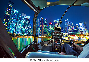 Helicopter on Marina Bay Waterfront