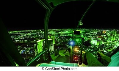 Digital helicopter cockpit interior flying on virtual skyline with matrix sky in green color and computer-generated city. Concept of digital travel and virtual reality.