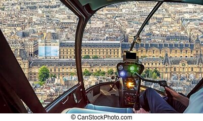 Helicopter on Paris aerial panorama - Helicopter cockpit ...