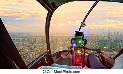 Helicopter on Paris aerial skyline - Helicopter cockpit ...