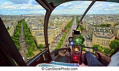 Helicopter on Paris city - Helicopter cockpit flying on ...