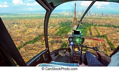 Helicopter on Paris - Helicopter cockpit flying on Parisian ...