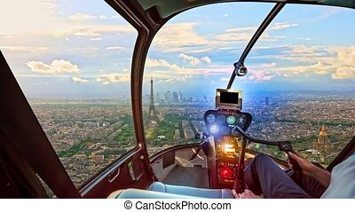 Helicopter on Paris - Helicopter cockpit flying on Place du ...