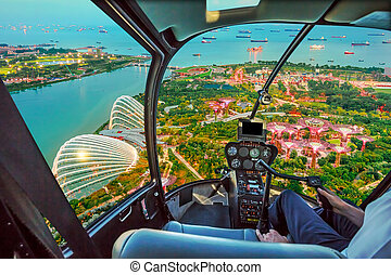 Helicopter on Singapore bay
