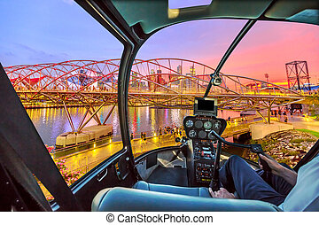 Helicopter on Singapore bridge