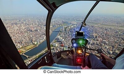 Helicopter on Tokyo skyline