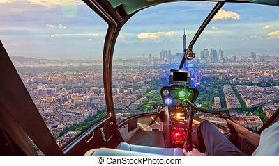 Helicopter on Tour Eiffel tower
