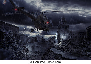 Helicopter flying at night over ruined Moscow city - photocompication