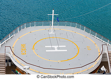 Helicopter Pad Above Aqua Water