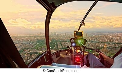 Helicopter panorama of Paris - Helicopter cockpit flying on ...