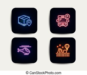 Helicopter, Parcel tracking and Bus parking icons. Roller coaster sign. Vector