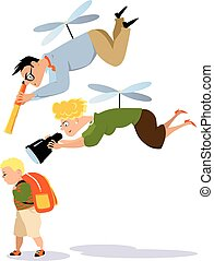 Helicopter parenting - Helicopter parents hovering over a...