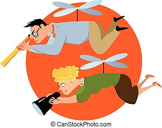 Helicopter parenting - Overprotective parents hovering with...