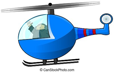 Helicopter Pilot - This illustration depicts a blue...