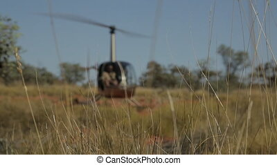 Helicopter ready for takeoff, Outback Australia - Close-up...