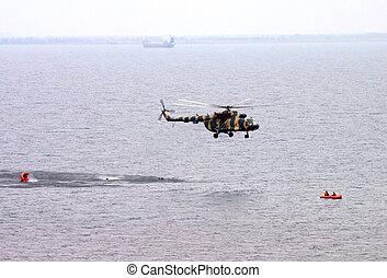 helicopter., redning, erhverv