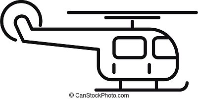 Helicopter relocation icon, outline style - Helicopter ...
