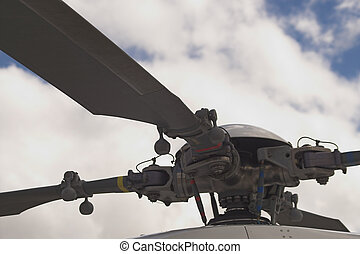 Helicopter Rotor - A close up of the main rotor of a...