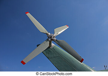 Helicopter rotor close-up with blades