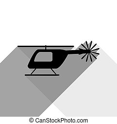 Helicopter sign illustration. Vector. Black icon with two flat gray shadows on white background.