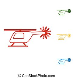 Helicopter sign. Set of line icons