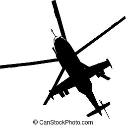 Helicopter silhouette - Military helicopter flying vector...