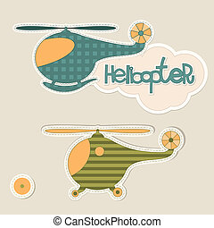 Helicopter - Sticker helicopter with a cloud