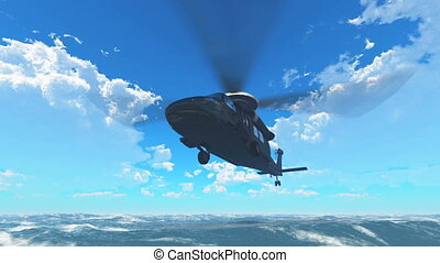 helicopter  - flying helicopter