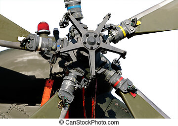Close-up view of the tail rotor of a military helicopter on white