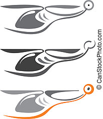 Helicopter - tattoo sketch - Helicopter - isolated vector...