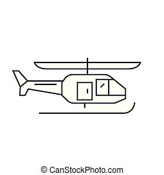 Helicopter thin line icon concept. Helicopter linear vector sign, symbol, illustration.