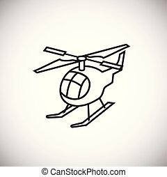 Helicopter thin line on white background