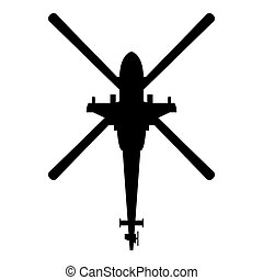 Helicopter top view Battle helicopter icon black color vector illustration flat style image
