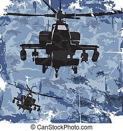 helicopter., vector, grunge, plano de fondo, ejército