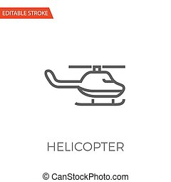 Helicopter Vector Icon - Helicopter Thin Line Vector Icon....
