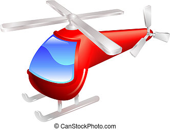 Cartoon style red helicopter vector illustration