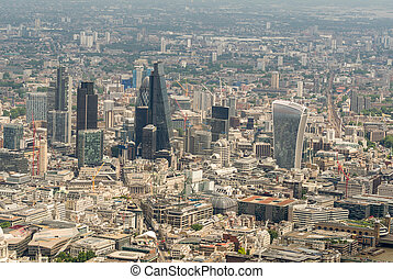 Helicopter view of City of London. Aerial modern skyline