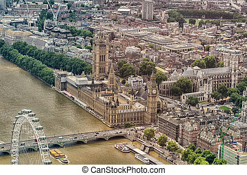 Helicopter view of Houses of Parliament and Westminster area, London - UK