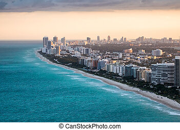 Helicopter view of Miami Beach. Sunset in Florida