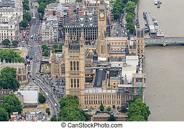 Helicopter view of Westminster Palace, London
