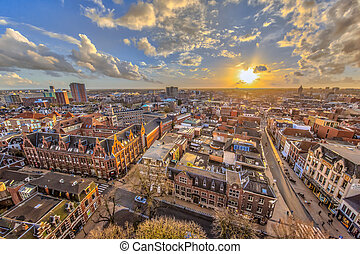 Helicopter View over Groningen city