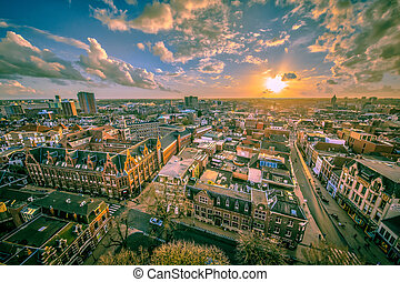 Helicopter View over Groningen city vintage colors