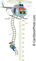 Meter wall or height meter with funny badgers on helicopter. Height chart or wall sticker. Childrens vector illustration with scale from 50 to 140 centimeter to measure growth