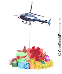 helicopter with christmas gifts delivery concept