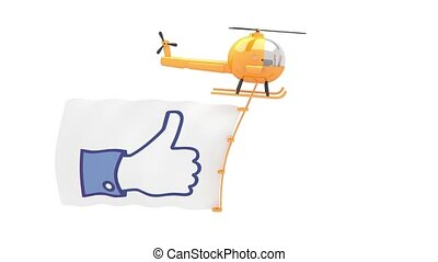 helicopter with like button flag for use in presentations,...