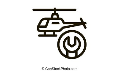 Helicopter Wrench Icon Animation. black Helicopter Wrench animated icon on white background
