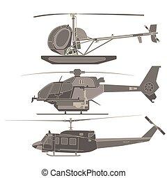 helicoptere, vektor, sæt, cartoon, transport, flyvemaskine, isoleret, ikon, illustration, hvid, transport, lejlighed, konstruktion, flyvemaskine